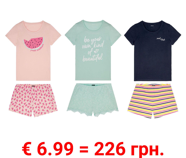 ESMARA® Shorty Pyjama Damen, aus Bio-Baumwolle