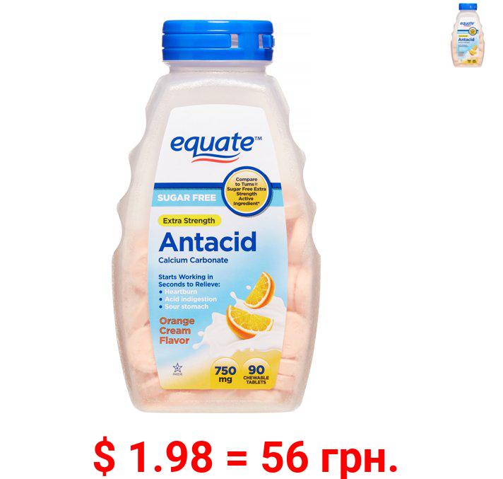 Equate Extra Strength Sugar Free Antacid Orange Cream Chewables, 750 mg, 90 Ct