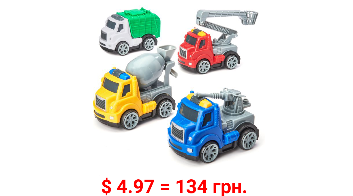 Kid Connection Utility Trucks Play Set, 4 Pieces