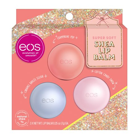 ($7.99 Value) eos Holiday Lip Balm Sphere - Cotton Candy Snow, Caramel Brulée Sleigh, and Champagne Pop   3 count