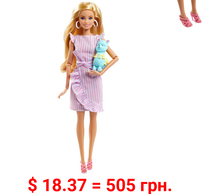 Barbie Tiny Wishes Doll in Wrap Dress (11.5-inch Blonde), Includes Llama Accessory, Doll Stand, and Certificate of Authenticity