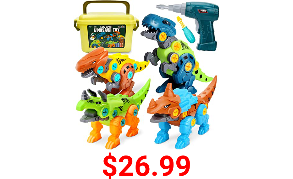 Dreamon Take Apart Dinosaur Toys for Kids 5-7 - Dino Building Toy Set for Boys and Girls with Electric Drill Storage Box - Construction Play Kit Stem Learning Gifts for Kids