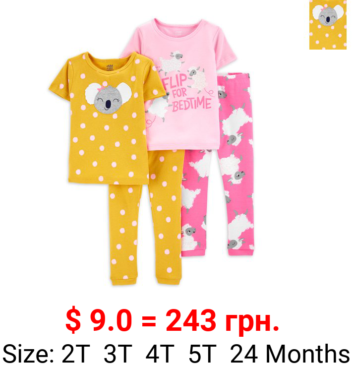 Child of Mine By Carter's Baby Girls & Toddler Girls Snug Fit Cotton Short Sleeve Pajamas 4pc Set (12M-5T)