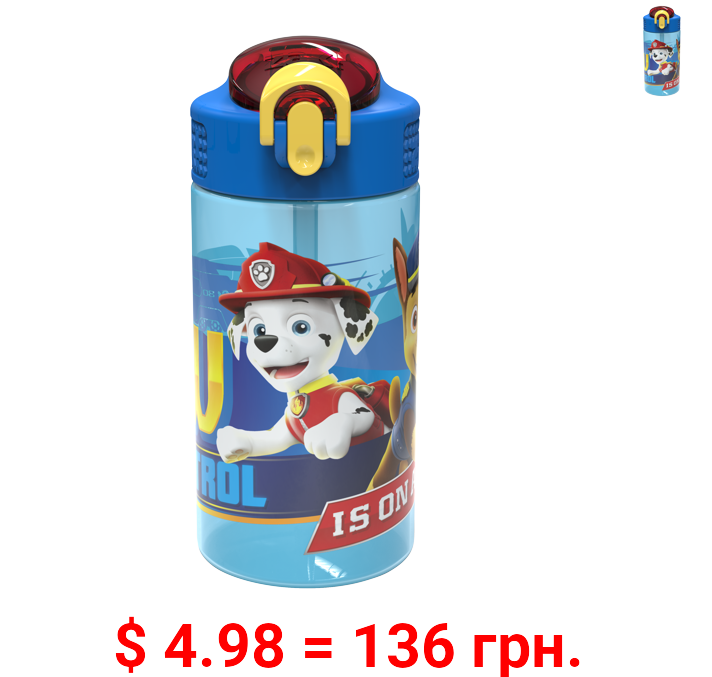 Zak Designs Paw Patrol 16 ounce Reusable Plastic Water Bottle with Straw, Marshall