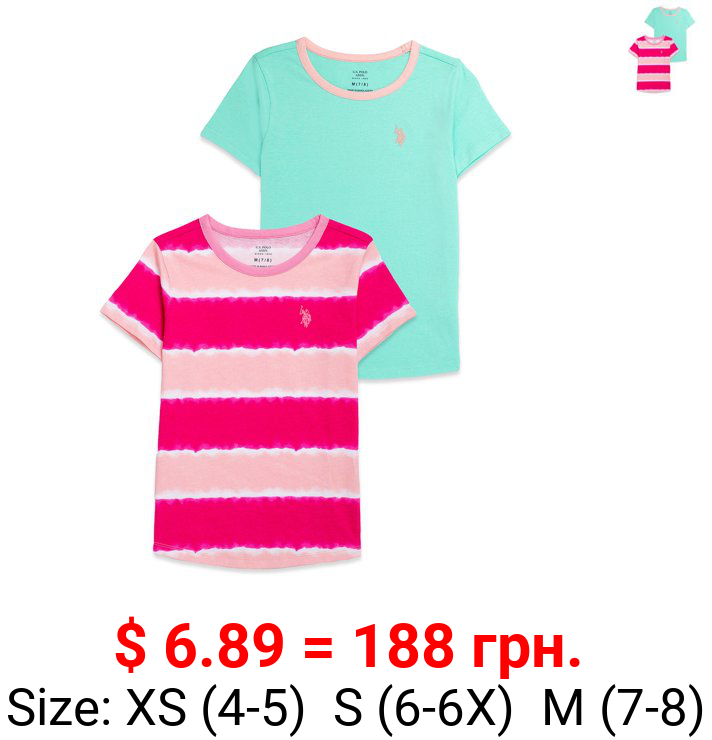 U.S. POLO ASSN. Girls Tie-Dye & Solid T-Shirts, 2-Pack, Sizes 4-18