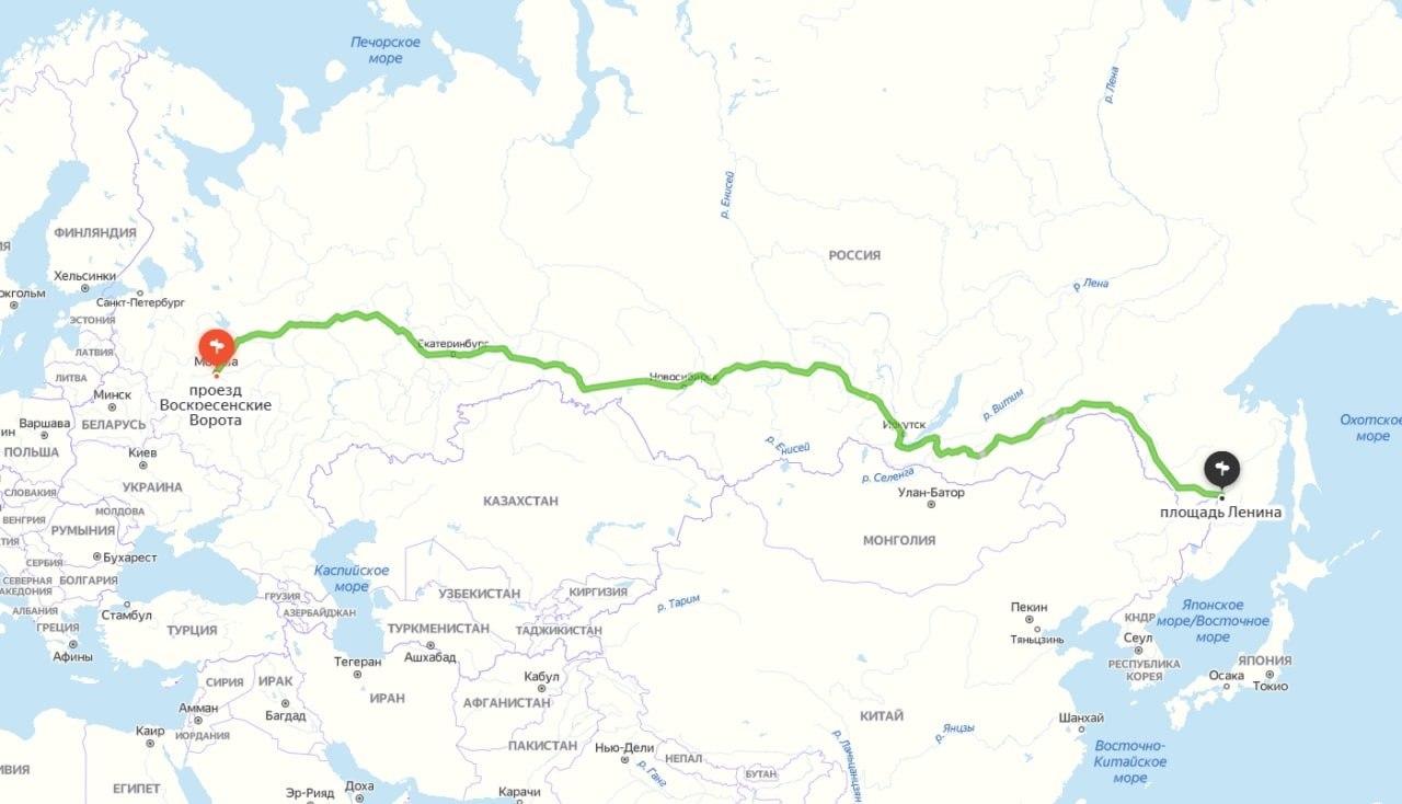 В 250 000 руб. обошлась поездка Москва-Хабаровск на такси