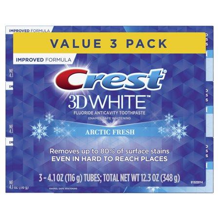 Crest 3D White Whitening Toothpaste, Arctic Fresh, 4.1 oz, 3 Pack