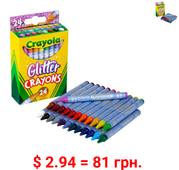Crayola Glitter Crayons, Assorted Colors, Child, 24 Count
