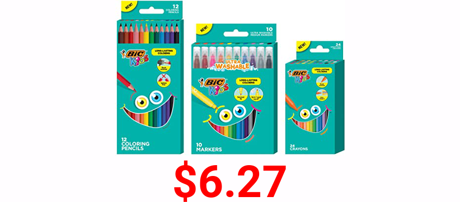 BIC Kids Coloring Combo Pack, Ultra Washable, Long-Lasting, Includes Markers, Pencils, and Crayons, Bright Assorted Colors, 46-Count