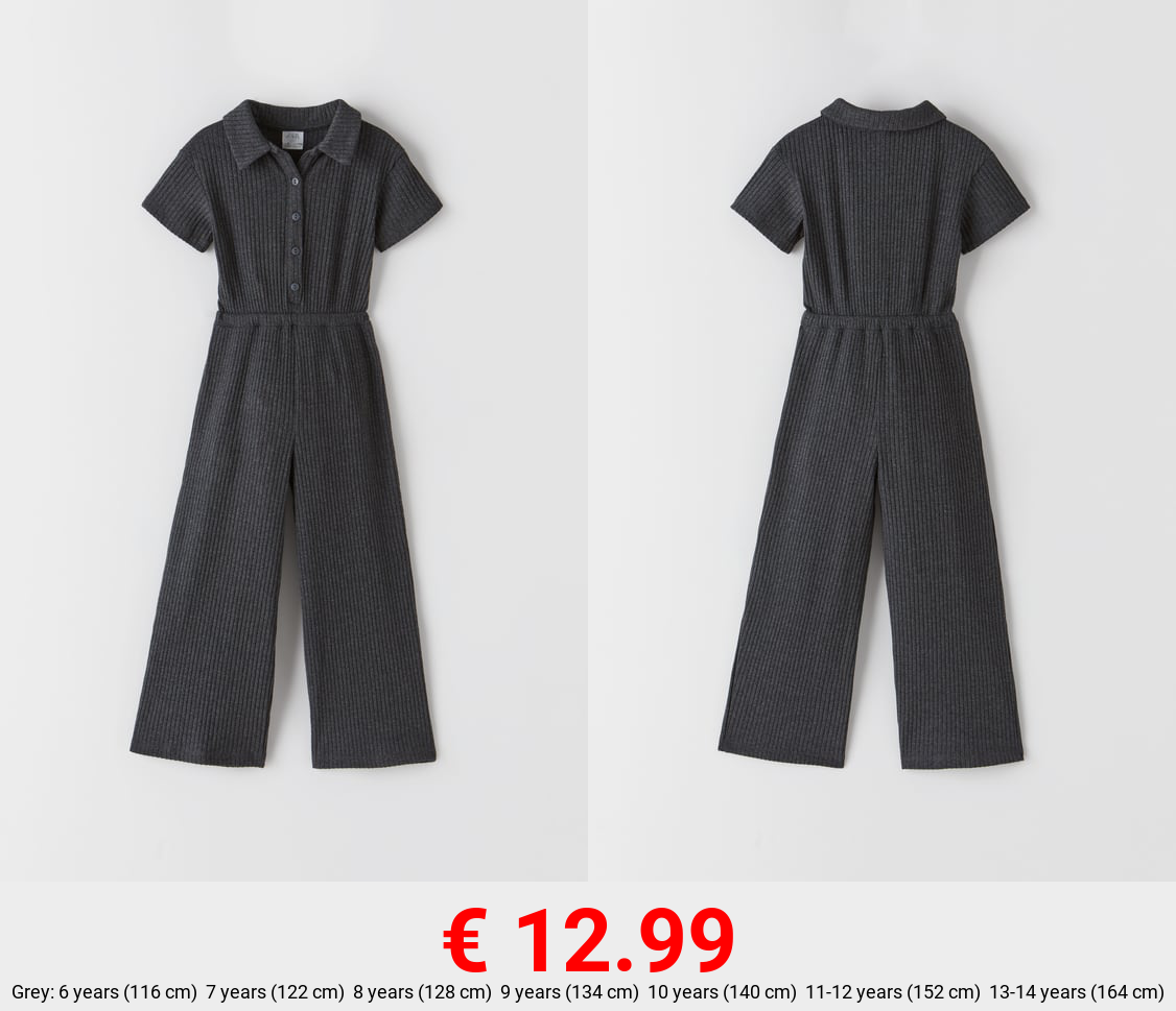 SHIRT-STYLE RIBBED JUMPSUIT