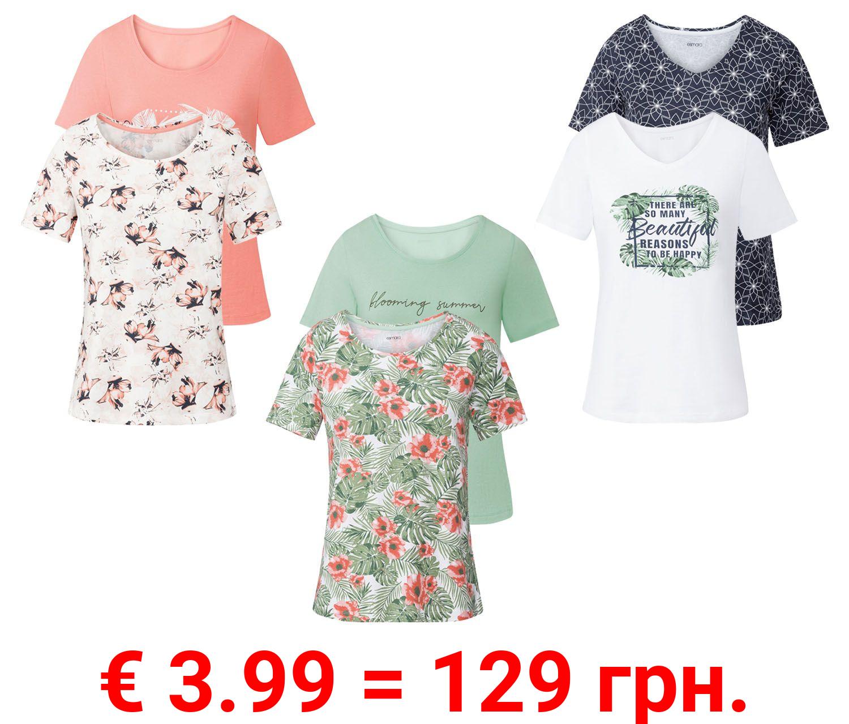 ESMARA® T-Shirts Damen, 2 Stück, mit Print