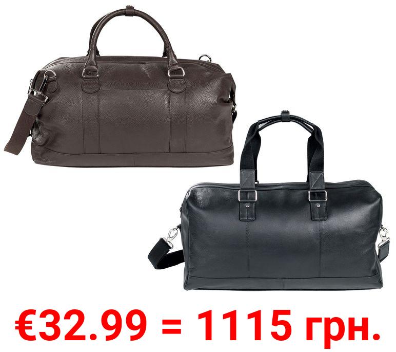 LIVERGY® Reisetasche Herren, mit 2 Handgriffen und verstellbarem Schultergurt, aus Leder