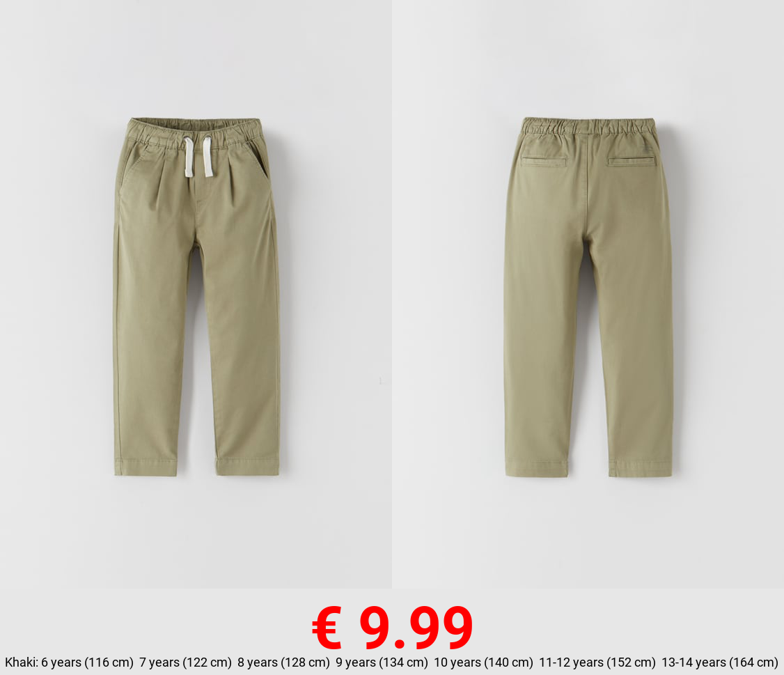 CHINO TROUSERS WITH ELASTIC DETAIL