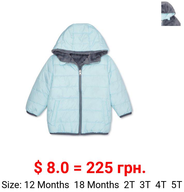 Wonder Nation Baby and Toddler Girls Reversible Bubble Jacket