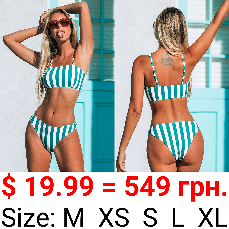 Blue and White Striped Bandeau Bikini