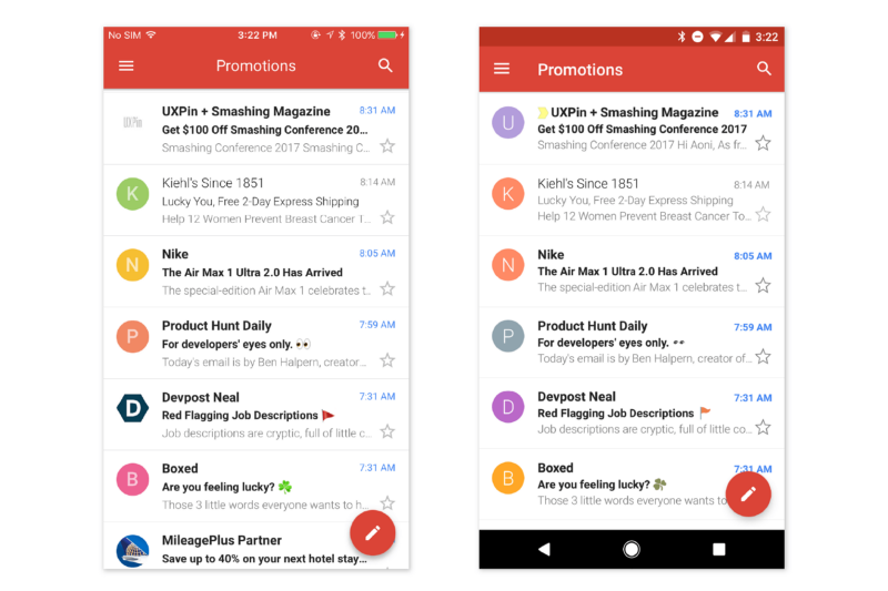 Слева — Gmail для iOS; Справа — Gmail для Android