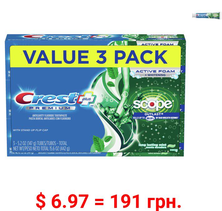 Crest Premium Plus Scope Outlast Toothpaste, Mint, 5.2 Oz, 3 Pack