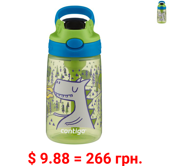 Contigo Kids 14oz Water Bottle with Redesigned AUTOSPOUT Straw, Matcha with Fire and Dragons