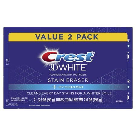 Crest 3D White Whitening Toothpaste, Icy Clean Mint, 3.5 oz, 2 Pack