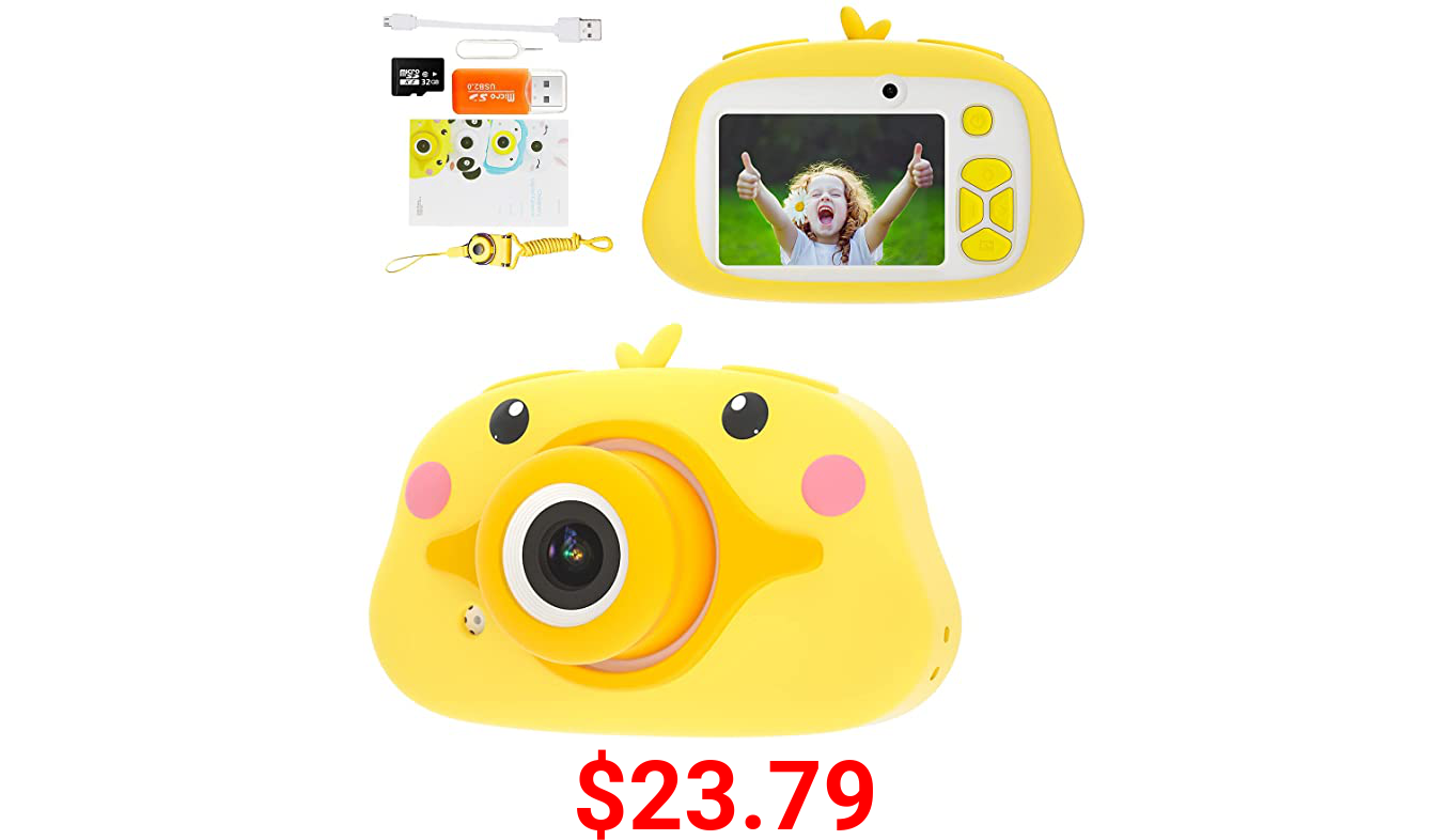 Interpad Upgrade Kids Selfie Camera,20MP HD Digital Video 2 Inch IPS Screen Children Toddler Cameras,Christmas Birthday Gifts Toys for 3 4 5 6 7 8 9 10 Year Old Girls with 32GB SD Card (Duck)