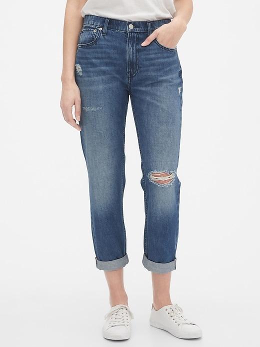 Mid Rise Distressed Boyfriend Jeans
