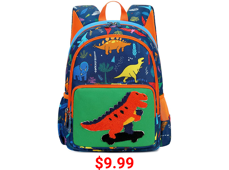 Kids Backpack Boys Girls Cute Dinosaur Preschool Backpack Kindergarten Toddler School Bookbags (Dino-Navy)