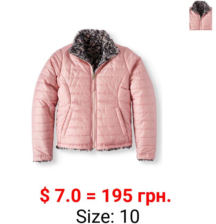 Bhip Girls Faux Fur Reversible Jacket, Sizes 7-16