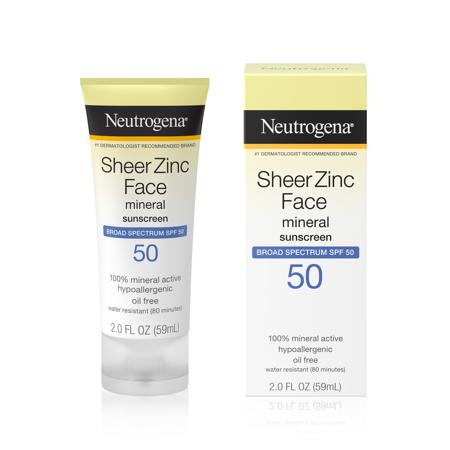 Neutrogena Sheer Zinc Face Sunscreen Lotion, SPF 50 Oil-Free, 2 fl oz