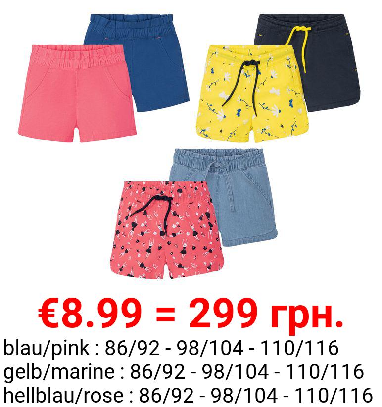 LUPILU® Kleinkinder Shorts Mädchen, 2 Stück