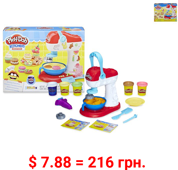 Play-Doh Kitchen Creations Spinning Treats Mixer Toy, Includes 6 Cans of Compound