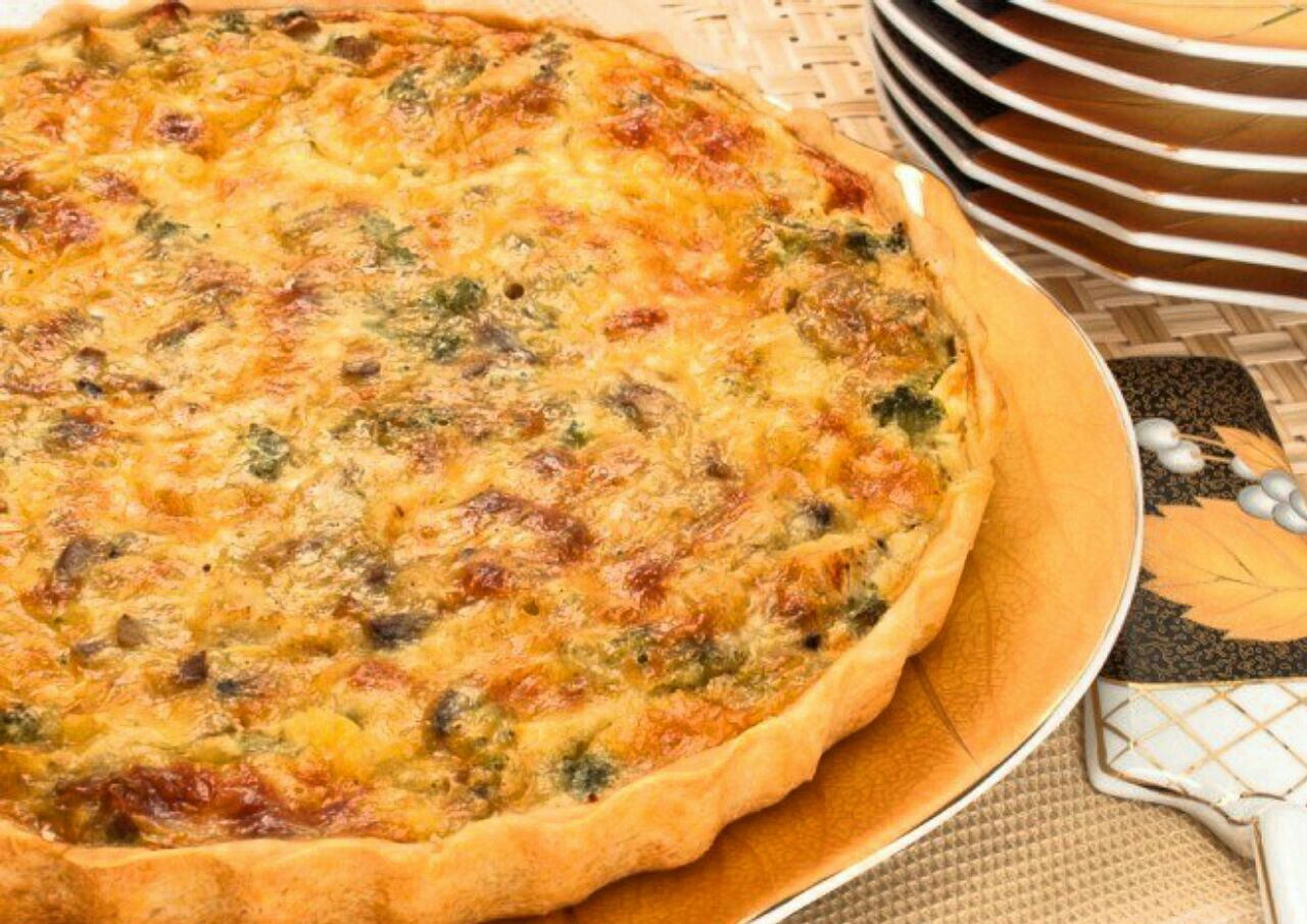 Лоранский пирог с курицей, грибами и брокколи рецепт с фото