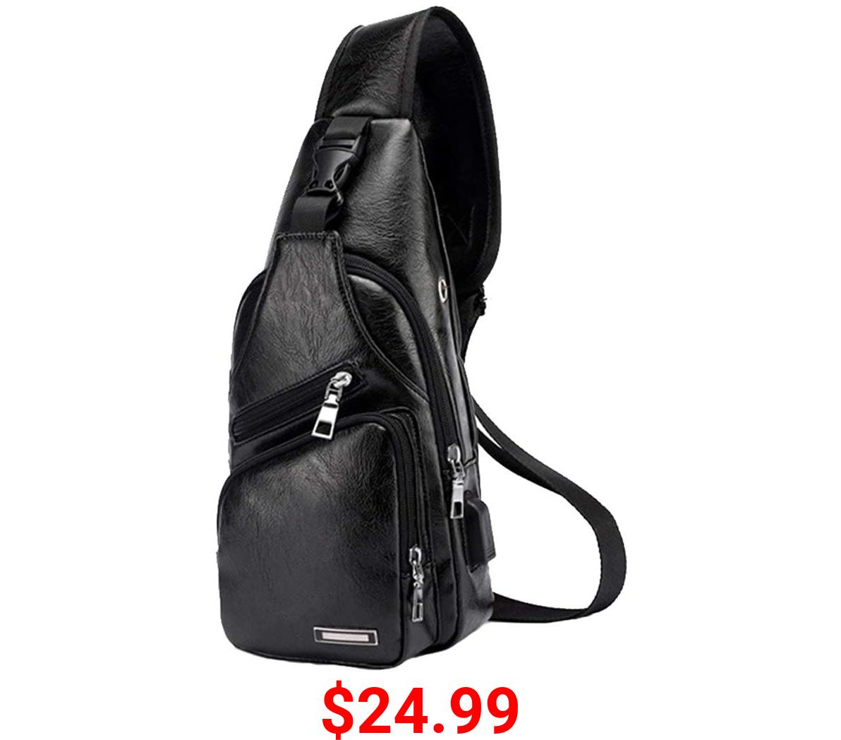 Large Men's Leather Sling Bag Chest Shoulder Backpack Crossbody Bag with USB Charging Port for Travel, Hiking ,Cycling