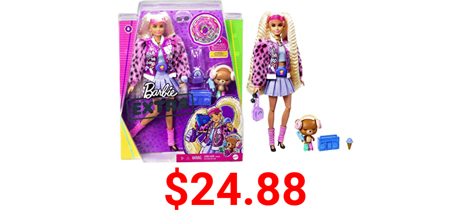Barbie Extra Doll #8 in Pink Sparkly Varsity Jacket with Furry Arms & Pet Teddy Bear, Extra-Long Crimped Pigtails, Layered Outfit & Accessories, Multiple Flexible Joints