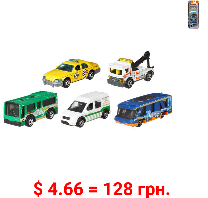 Matchbox 5-Packs 1:64 Scale Vehicles, 5 Toy Car Collection For Kids 3 Years & Older (Styles May Vary)