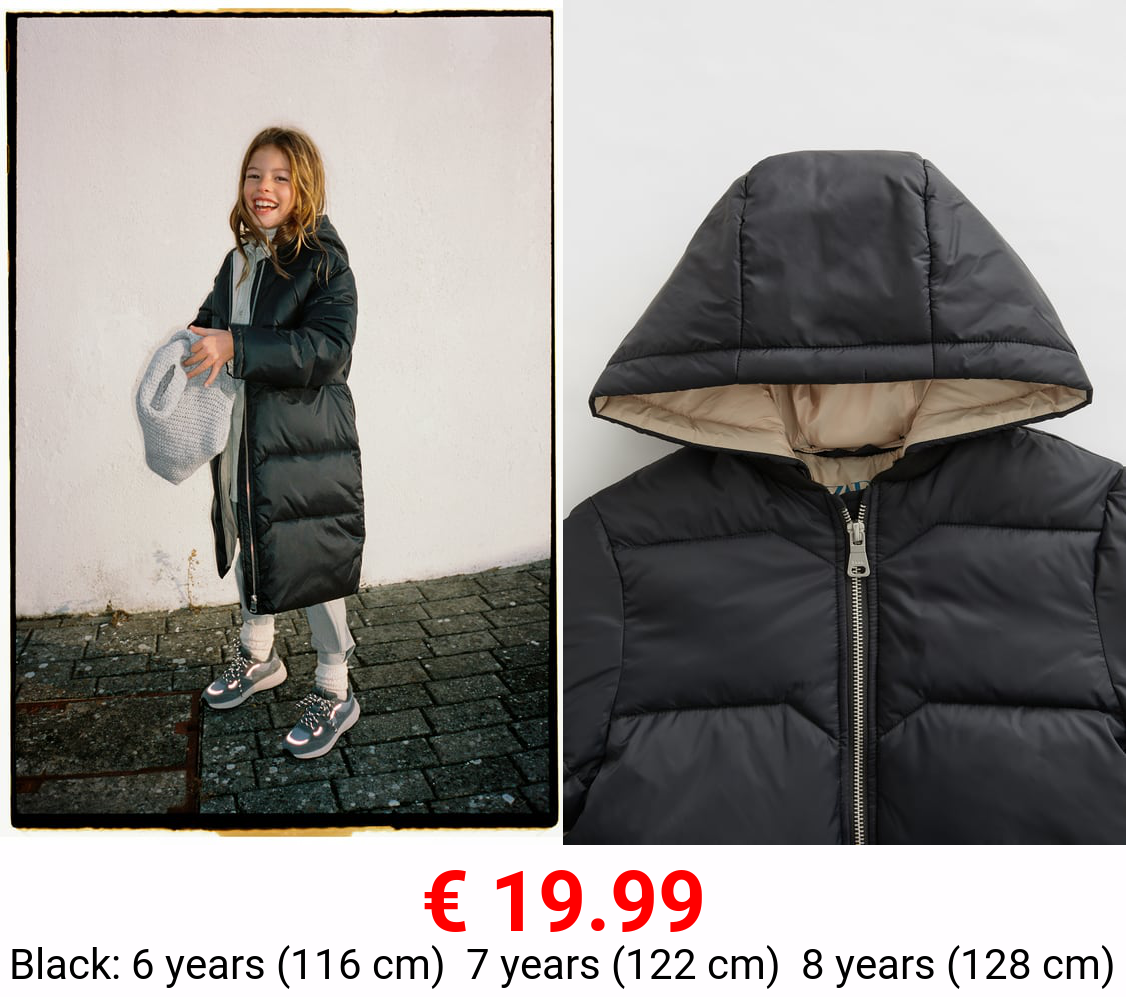 THREE-QUARTER-LENGTH PUFFER COAT WITH CONTRAST DETAIL