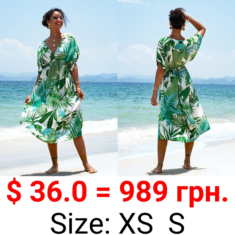 Whitley Tropical V Neck Dress