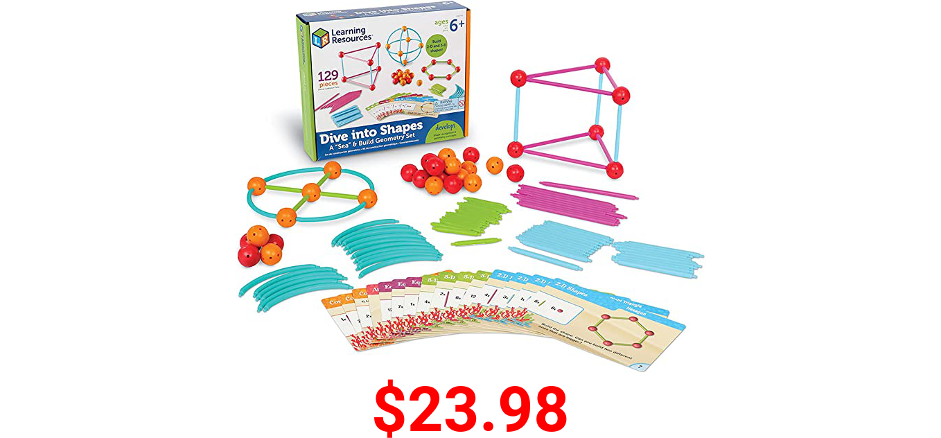Learning Resources Dive into Shapes! A Sea and Build Geometry Set, 129 Pieces
