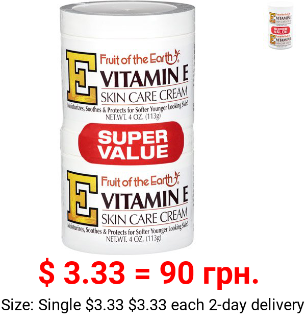 Fruit of the Earth Vitamin E Skin Care Cream Super Value, 4 Oz., 2 pack