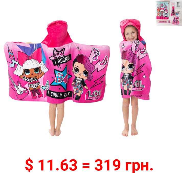 L.O.L Surprise! Kids Bath and Beach Hooded Towel Wrap, 100% Cotton, Pink