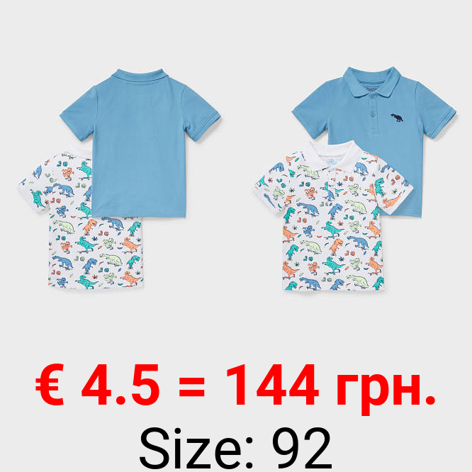 Multipack 2er - Dino - Poloshirt - Bio-Baumwolle