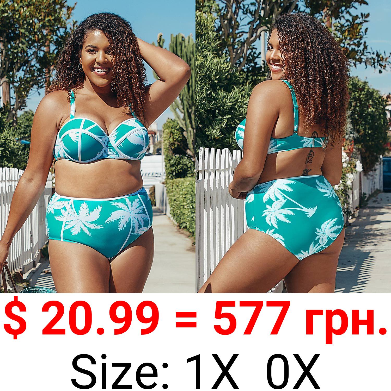 Blue Leafy Contrast Trim Plus Size Bikini