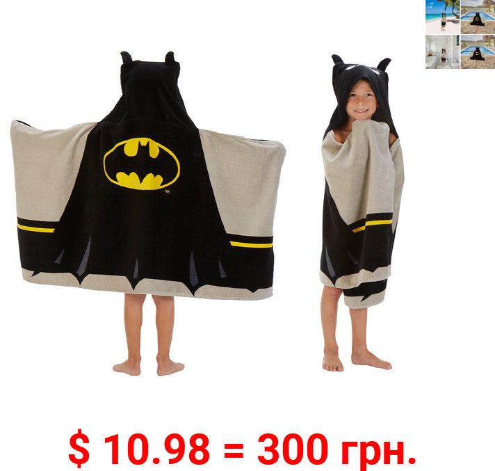 Batman Kids Terry Cotton Bath and Beach Hooded Towel Wrap, Black