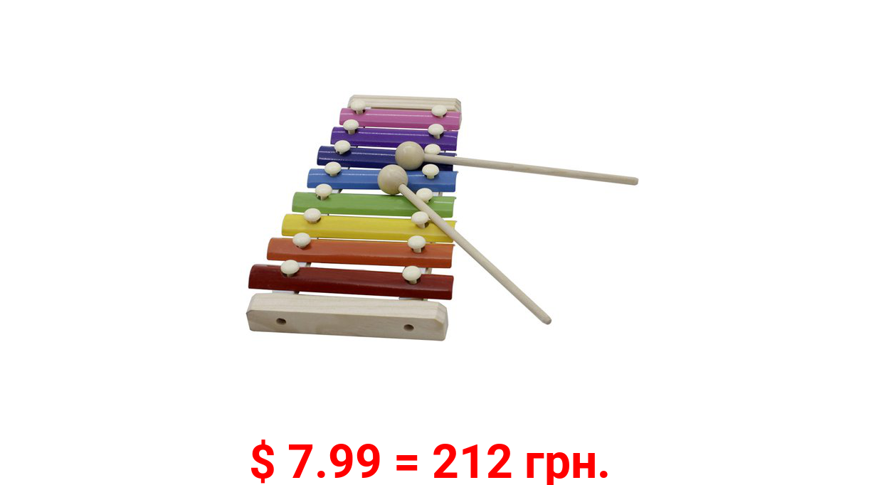 8-Note Colorful Xylophone Glockenspiel with Wooden Mallets Percussion Musical Instrument Toy Gift for Kids Children