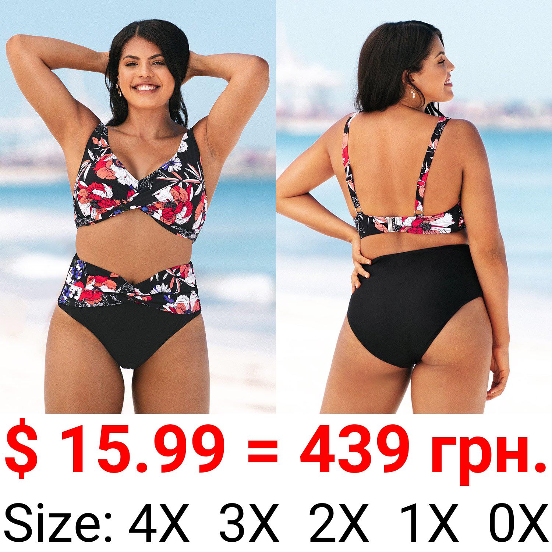Patricia Floral Twist Plus Size Bikini Bottom