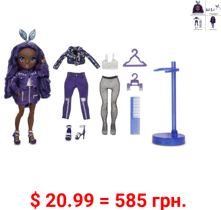 Rainbow High Krystal Bailey – Indigo (Dark Blue Purple) Fashion Doll with 2 Complete Mix & Match Outfits and Accessories, Toys for Kids 6-12 Years Old