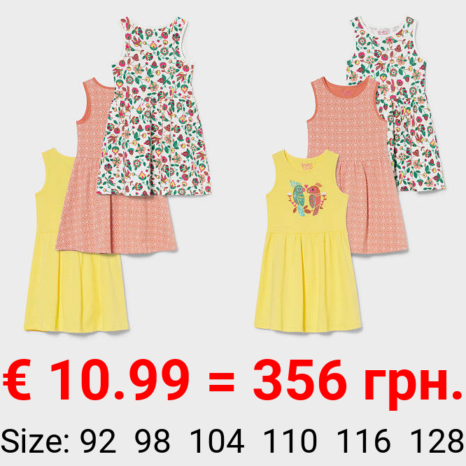 Multipack 3er - Kleid - Bio-Baumwolle