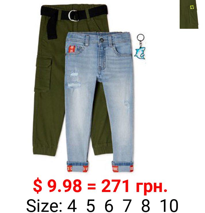 365 Kids from Garanimals Boys' Denim & Cargo Pants, 2-Pack, Sizes 4-10