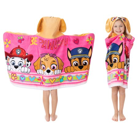 """PAW Patrol Kids Bath and Beach Soft Cotton Terry Hooded Towel Wrap, 24"""" x 50"""", Pink"""