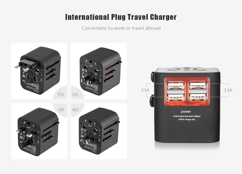 ?International Multifunctional 4 USB Port Travel Charger Adapter