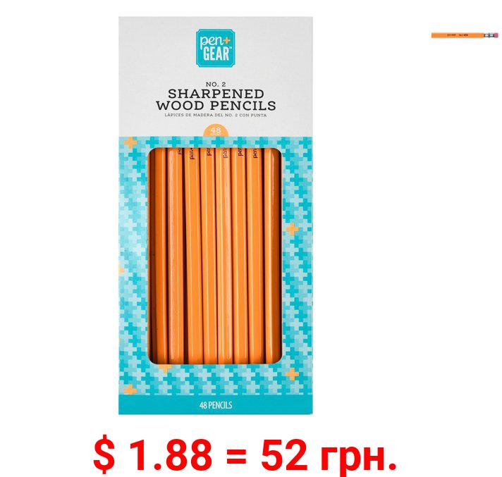 Pen + Gear No. 2 Wood Pencils, Sharpened, 48 Count